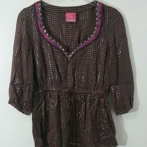 Free People Boho Tunic brown and Silver XS